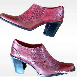 Antonio Melani Red Leather Tooled Ankle Boots